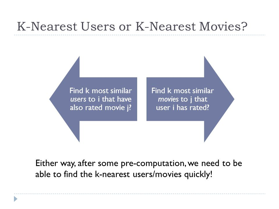 K-Nearest Users or K-Nearest Movies. Find k most similar users to i that have also rated movie j.