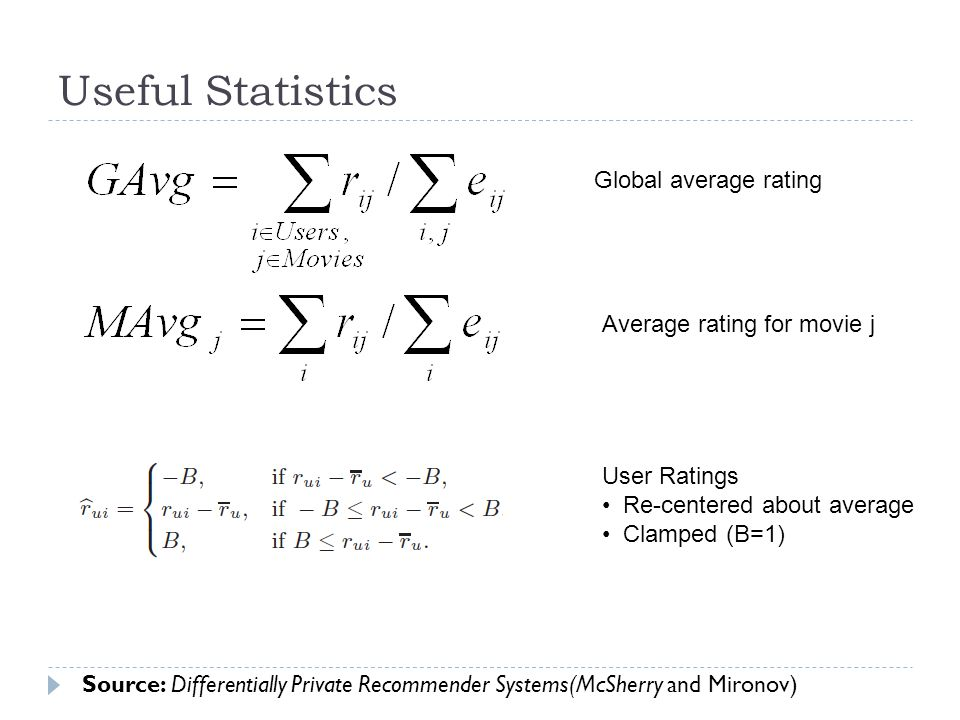 Useful Statistics Global average rating Average rating for movie j User Ratings Re-centered about average Clamped (B=1) Source: Differentially Private Recommender Systems(McSherry and Mironov)