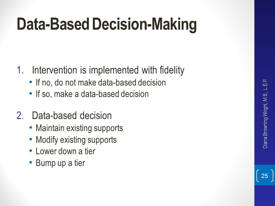 Data-Based Decision-Making 1.Intervention is implemented with fidelity If no, do not make data-based decision If so, make a data-based decision 2.Data