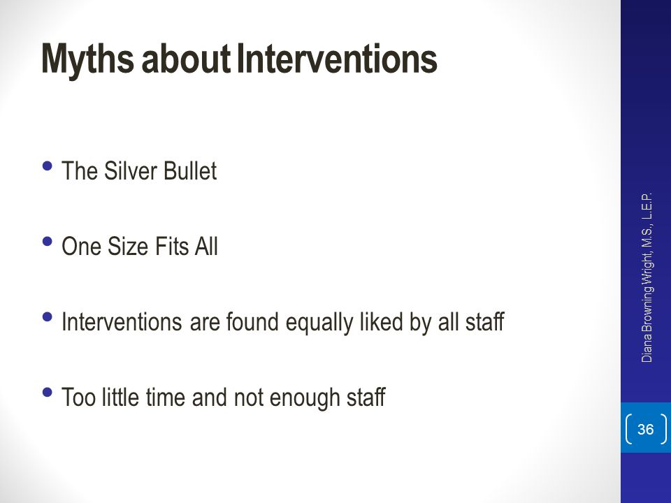 Myths about Interventions The Silver Bullet One Size Fits All Interventions are found equally liked by all staff Too little time and not enough staff