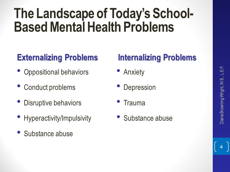 The Landscape of Today's School- Based Mental Health Problems Externalizing Problems Oppositional behaviors Conduct problems Disruptive behaviors Hype