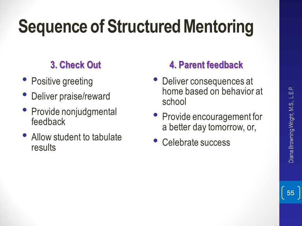 Sequence of Structured Mentoring 3. Check Out Positive greeting Deliver praise/reward Provide nonjudgmental feedback Allow student to tabulate results