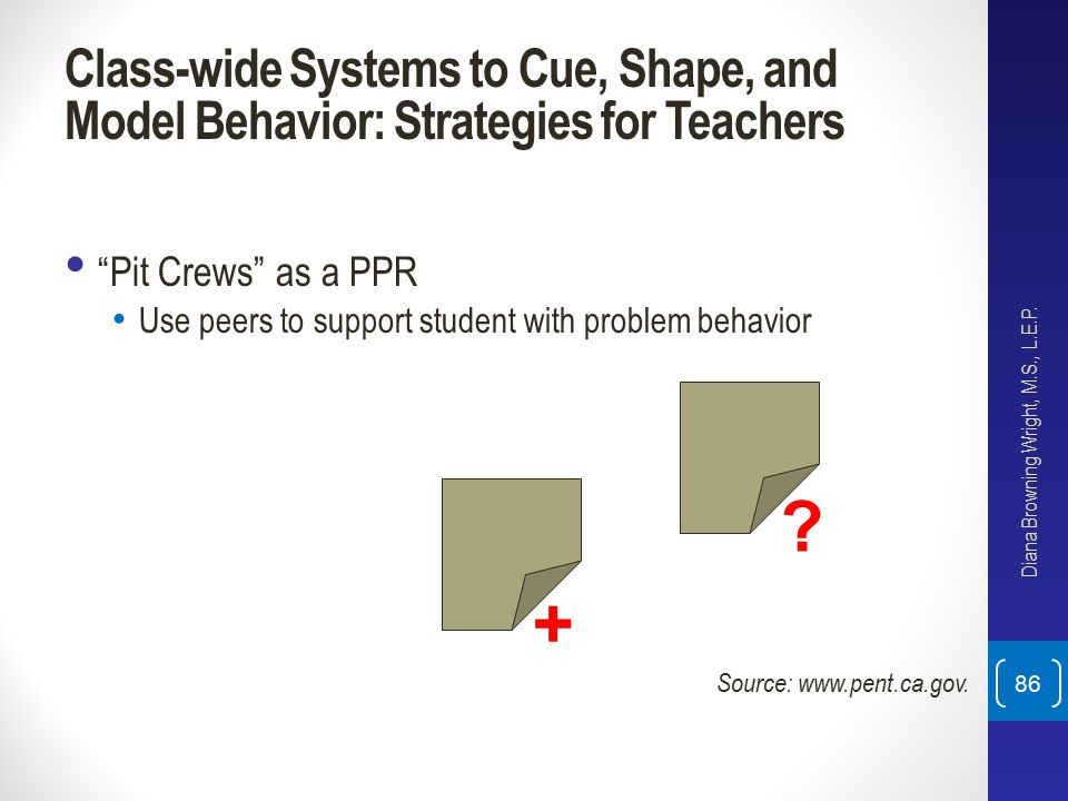 "Class-wide Systems to Cue, Shape, and Model Behavior: Strategies for Teachers ""Pit Crews"" as a PPR Use peers to support student with problem behavior"