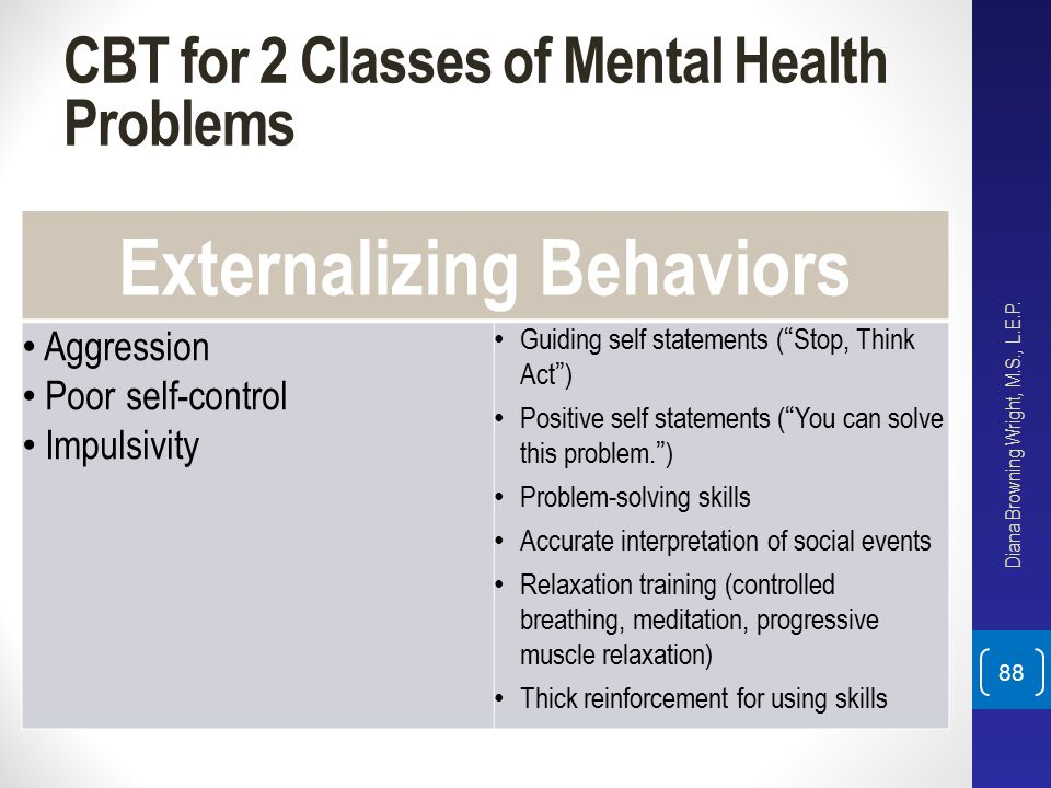 "CBT for 2 Classes of Mental Health Problems Externalizing Behaviors Aggression Poor self-control Impulsivity Guiding self statements (""Stop, Think Act"