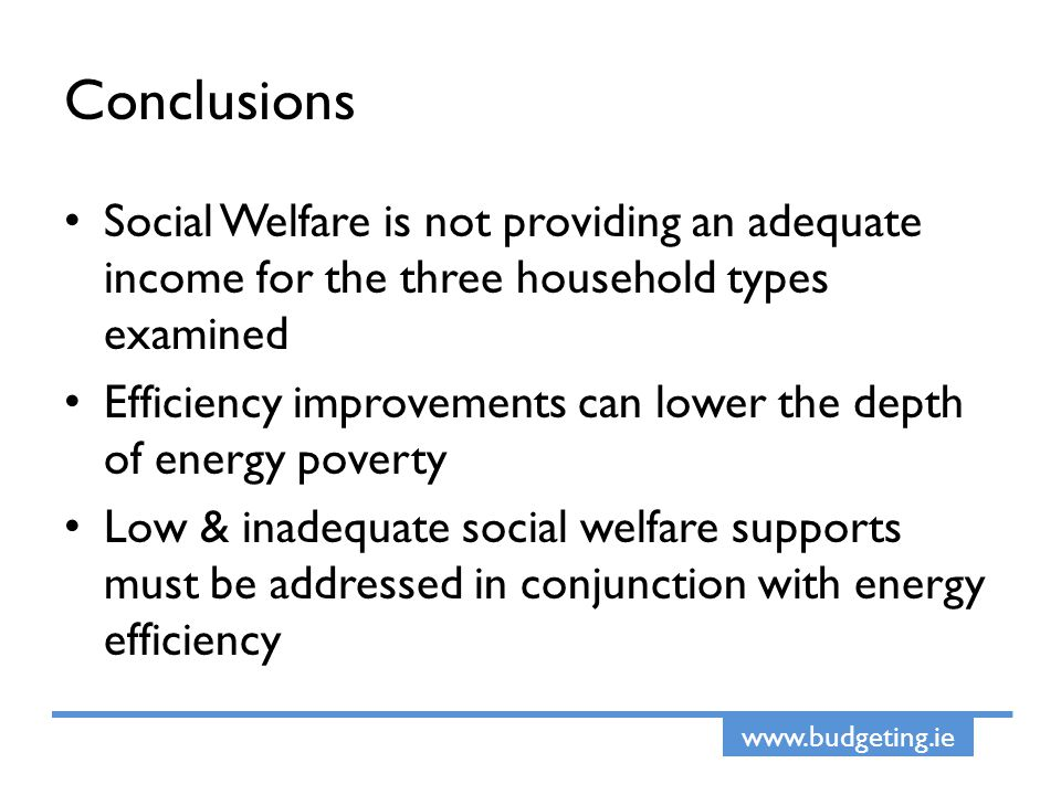 www.budgeting.ie Conclusions Social Welfare is not providing an adequate income for the three household types examined Efficiency improvements can lower the depth of energy poverty Low & inadequate social welfare supports must be addressed in conjunction with energy efficiency