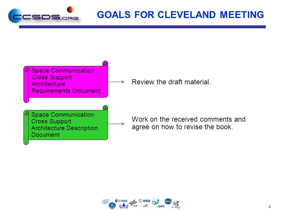 4 GOALS FOR CLEVELAND MEETING Work on the received comments and agree on how to revise the book. Space Communication Cross Support Architecture Requir
