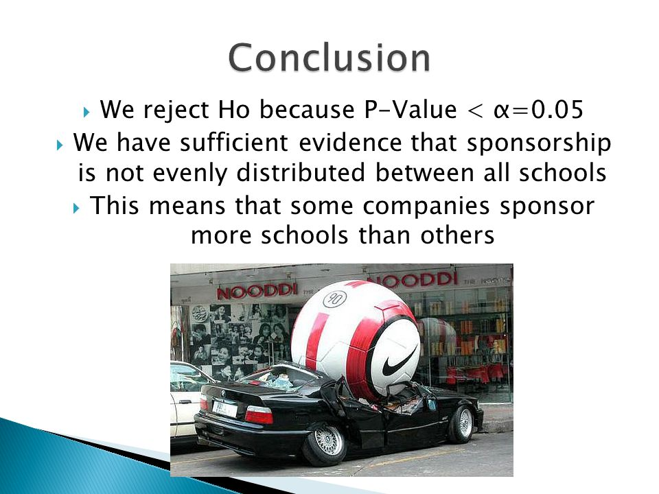  We reject Ho because P-Value < α=0.05  We have sufficient evidence that sponsorship is not evenly distributed between all schools  This means that some companies sponsor more schools than others