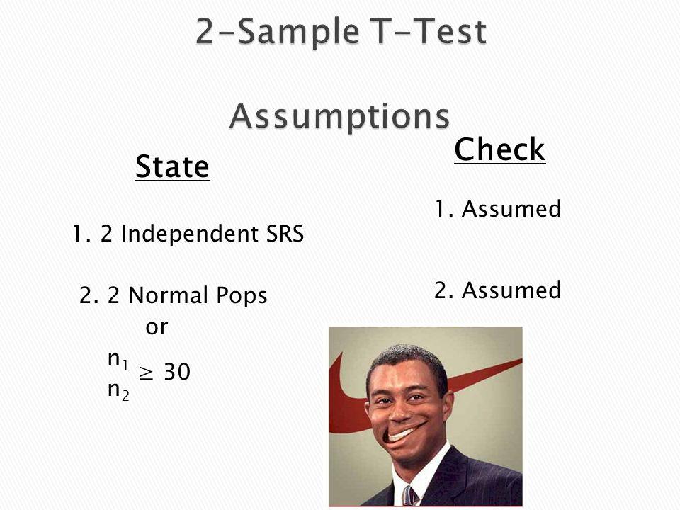 State 1. 2 Independent SRS 2. 2 Normal Pops or n 1 n 2 Check 1. Assumed 2. Assumed ≥ 30