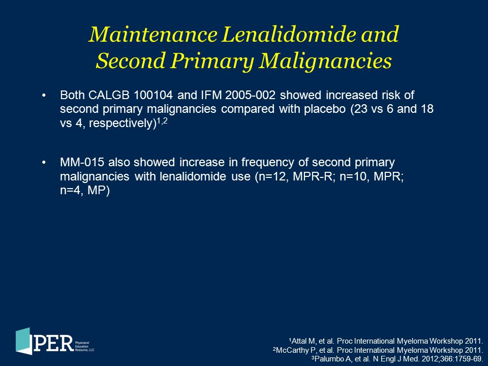 Maintenance Lenalidomide and Second Primary Malignancies Both CALGB 100104 and IFM 2005-002 showed increased risk of second primary malignancies compa