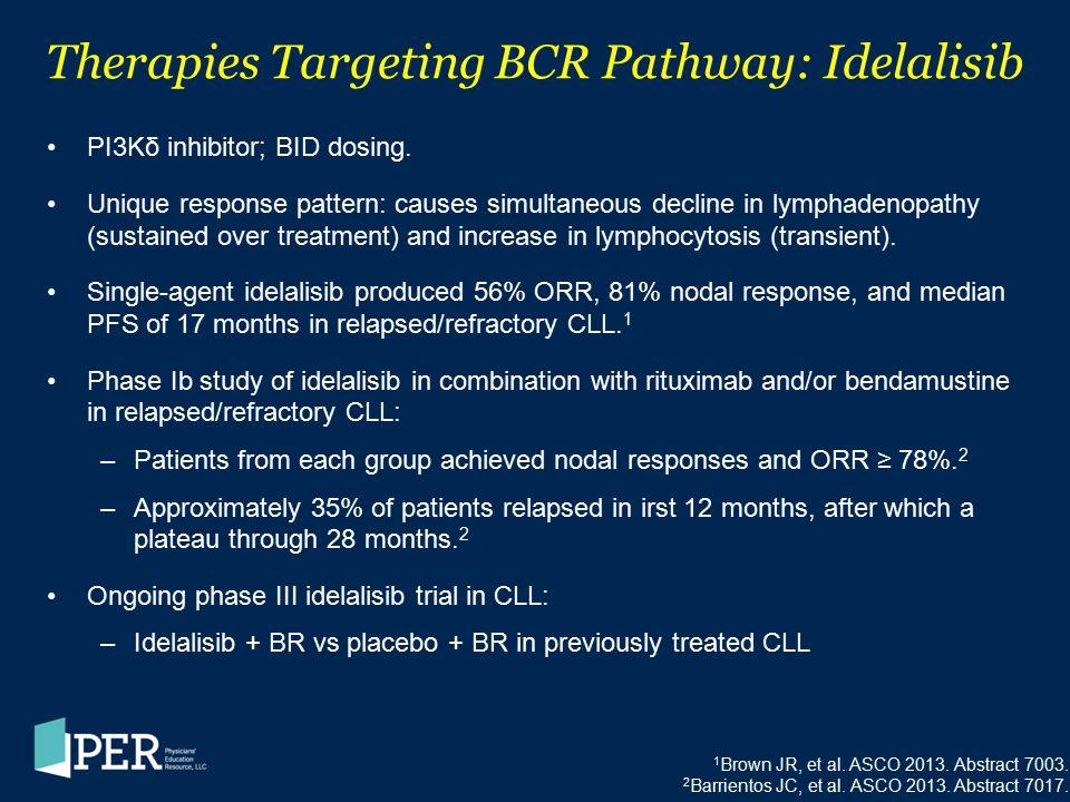 Therapies Targeting BCR Pathway: Idelalisib PI3Kδ inhibitor; BID dosing. Unique response pattern: causes simultaneous decline in lymphadenopathy (sust