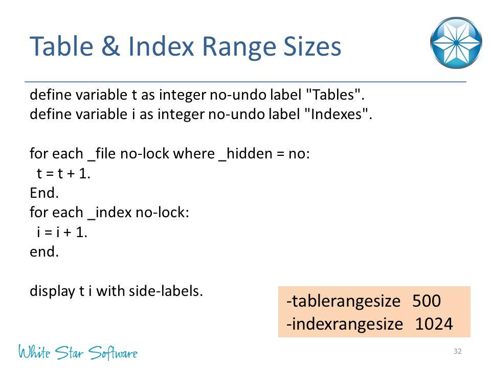 Table & Index Range Sizes 32 -tablerangesize 500 -indexrangesize 1024 define variable t as integer no-undo label Tables .