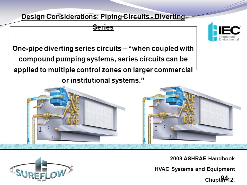 "Design Considerations: Piping Circuits - Diverting Series One-pipe diverting series circuits – ""when coupled with compound pumping systems, series cir"