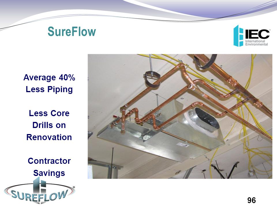 SureFlow Average 40% Less Piping Less Core Drills on Renovation Contractor Savings 96