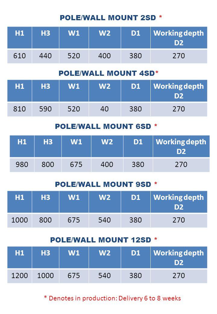 POLE/WALL MOUNT 2SD * H1H3W1W2D1Working depth D2 610440520400380270 POLE/WALL MOUNT 12SD * POLE/WALL MOUNT 9SD * POLE/WALL MOUNT 6SD * POLE/WALL MOUNT