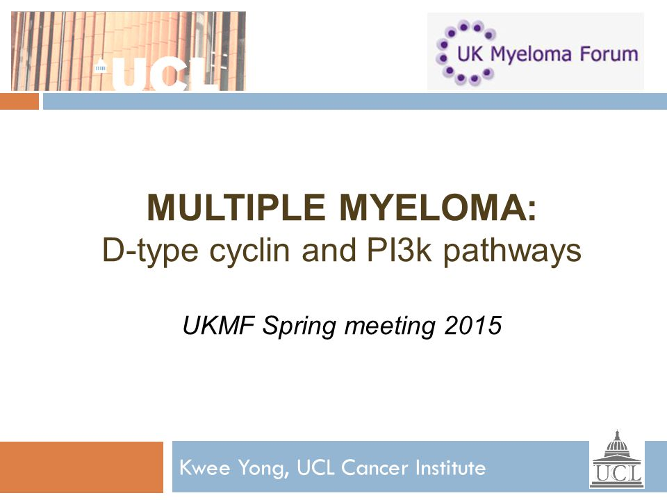 MULTIPLE MYELOMA: D-type cyclin and PI3k pathways UKMF Spring meeting 2015 Kwee Yong, UCL Cancer Institute