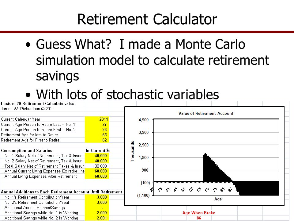 Guess What? I made a Monte Carlo simulation model to calculate retirement savings With lots of stochastic variables Retirement Calculator