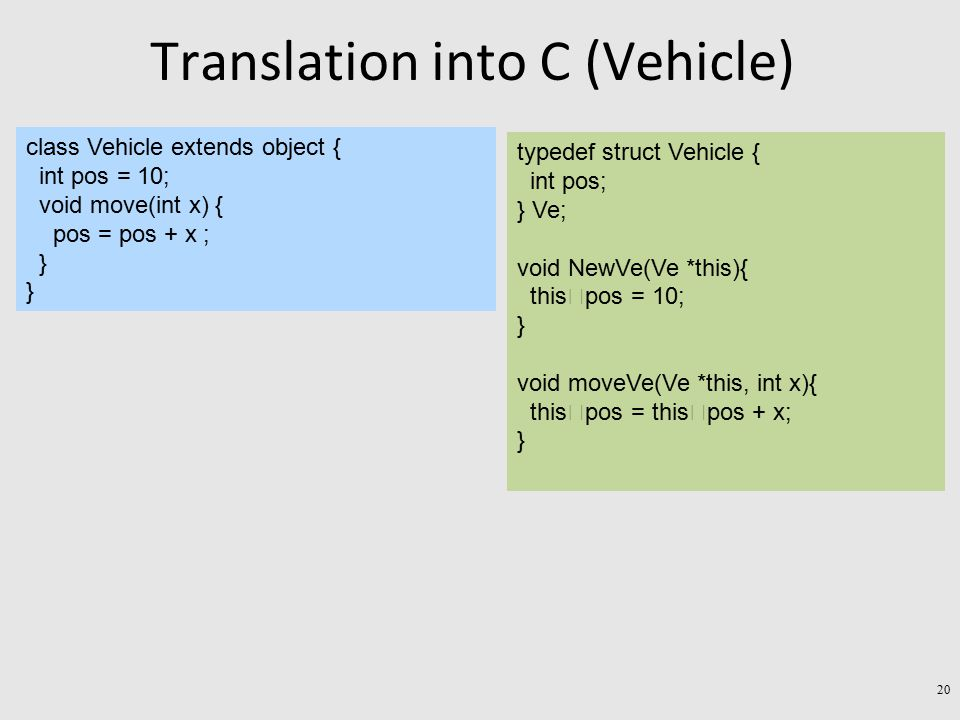 Translation into C (Vehicle) class Vehicle extends object { int pos = 10; void move(int x) { pos = pos + x ; } typedef struct Vehicle { int pos; } Ve; void NewVe(Ve *this){ this  pos = 10; } void moveVe(Ve *this, int x){ this  pos = this  pos + x; } 20