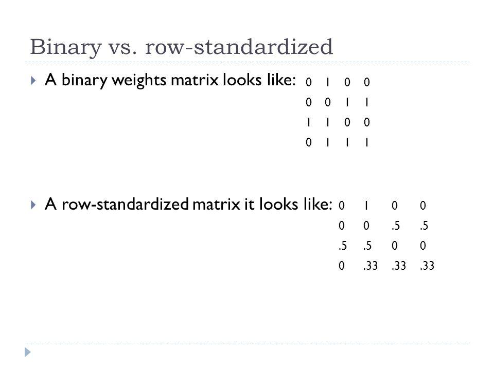 Binary vs. row-standardized  A binary weights matrix looks like:  A row-standardized matrix it looks like: 0100 0011 1100 0111 0100 00.5 00 0.33