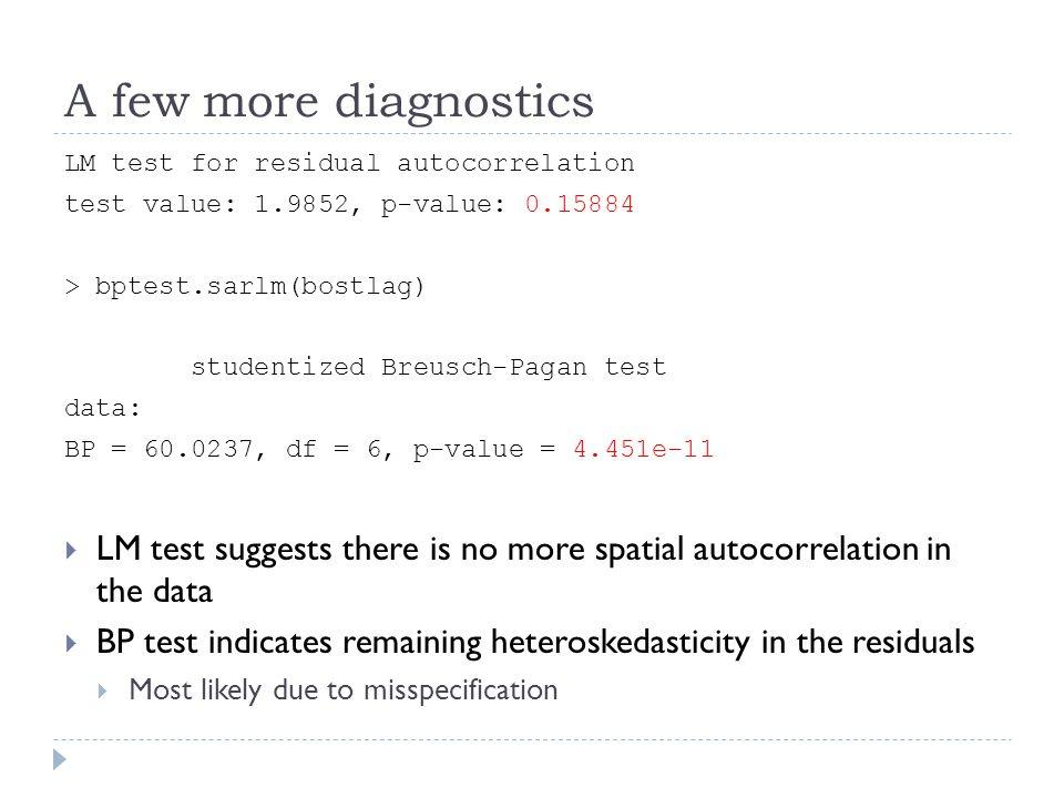 A few more diagnostics LM test for residual autocorrelation test value: 1.9852, p-value: 0.15884 > bptest.sarlm(bostlag) studentized Breusch-Pagan tes