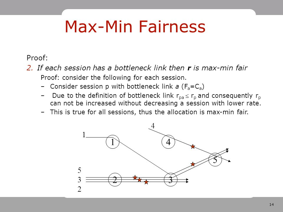 14 Max-Min Fairness Proof: 2.If each session has a bottleneck link then r is max-min fair Proof: consider the following for each session.