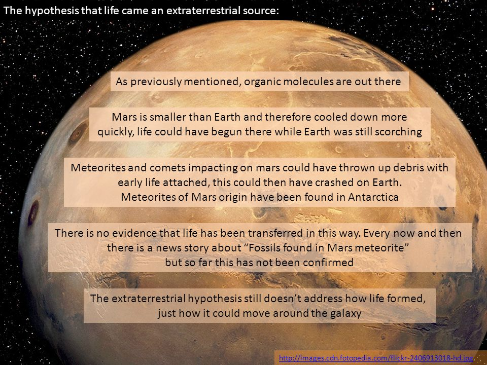 The hypothesis that life came an extraterrestrial source: http://images.cdn.fotopedia.com/flickr-2406913018-hd.jpg As previously mentioned, organic mo