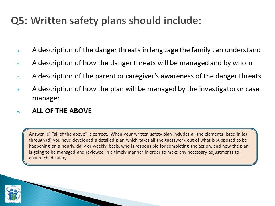a. A description of the danger threats in language the family can understand b.