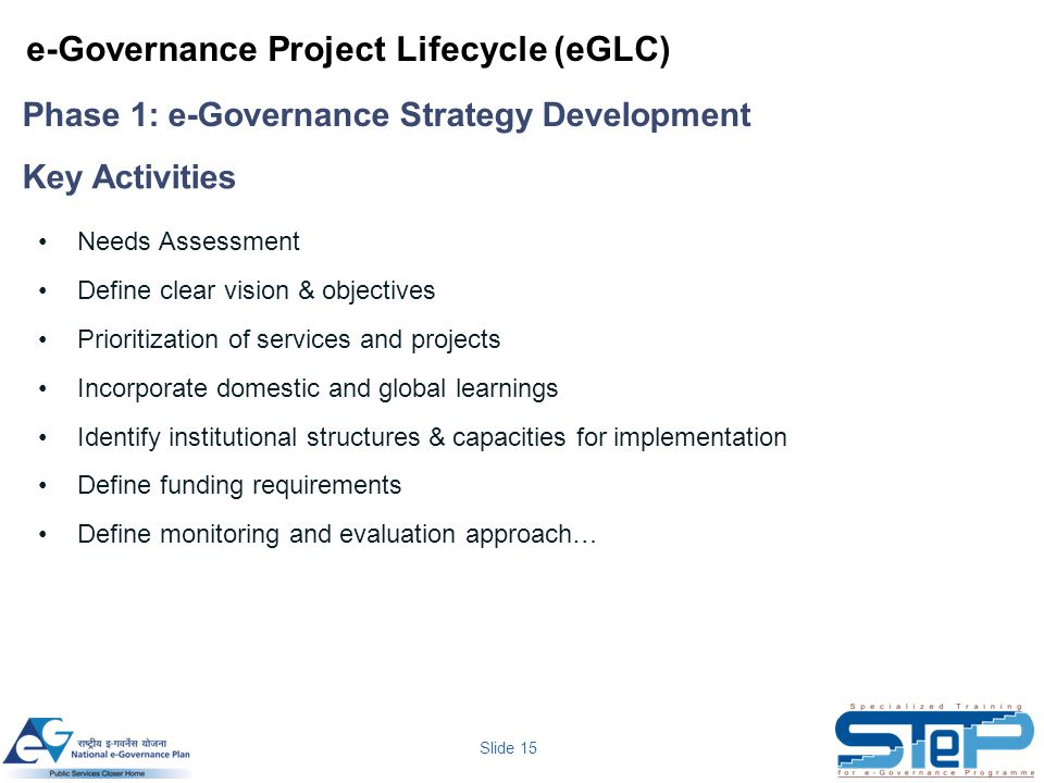 Slide 15 Needs Assessment Define clear vision & objectives Prioritization of services and projects Incorporate domestic and global learnings Identify