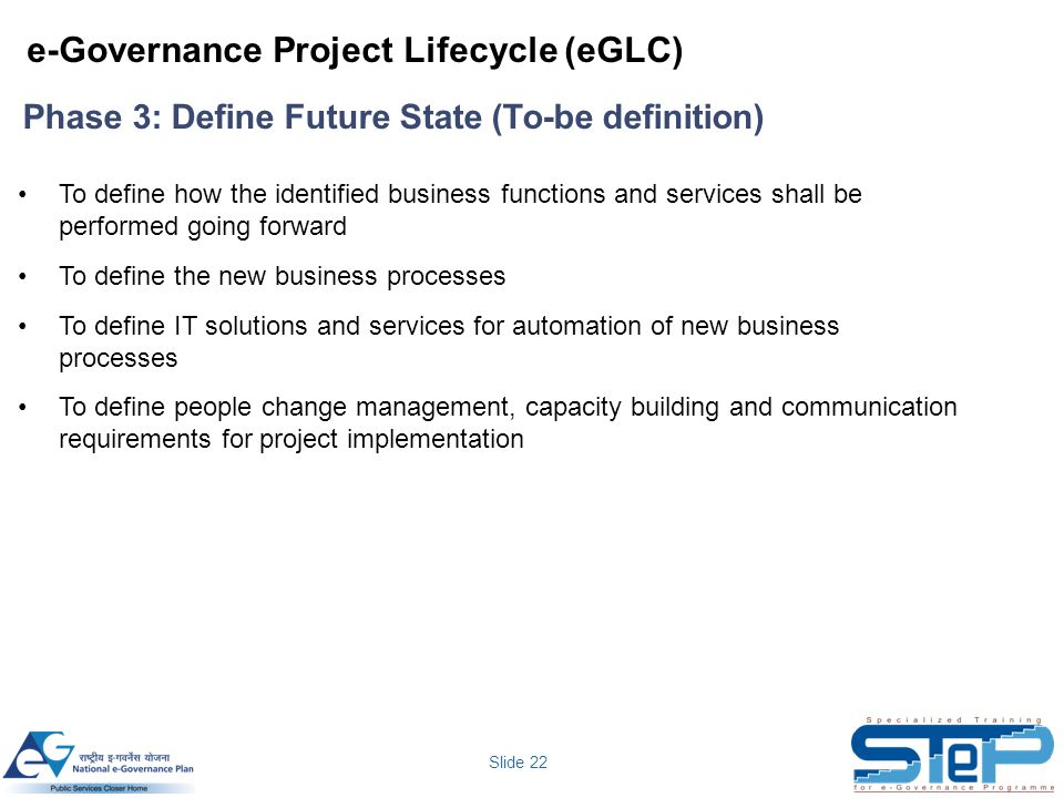 Slide 22 To define how the identified business functions and services shall be performed going forward To define the new business processes To define