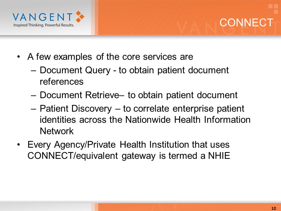 CONNECT A few examples of the core services are –Document Query - to obtain patient document references –Document Retrieve– to obtain patient document –Patient Discovery – to correlate enterprise patient identities across the Nationwide Health Information Network Every Agency/Private Health Institution that uses CONNECT/equivalent gateway is termed a NHIE 10