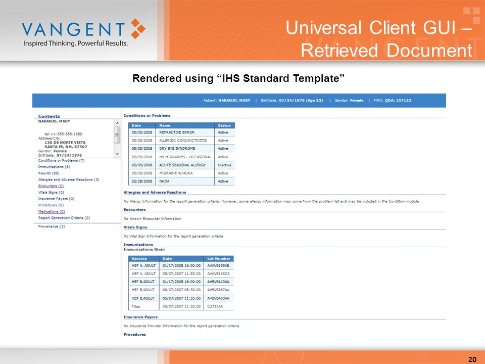 Universal Client GUI – Retrieved Document 20 Rendered using IHS Standard Template