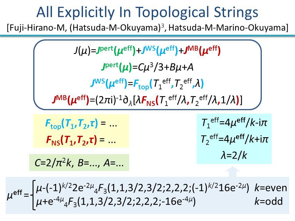 All Explicitly In Topological Strings [Fuji-Hirano-M, (Hatsuda-M-Okuyama) 3, Hatsuda-M-Marino-Okuyama] J(μ)=J pert (μ eff )+J WS (μ eff )+J MB (μ eff ) J pert (μ)=Cμ 3 /3+Bμ+A J WS (μ eff )=F top (T 1 eff,T 2 eff,λ) J MB (μ eff )=(2πi) -1 ∂ λ [λF NS (T 1 eff /λ,T 2 eff /λ,1/λ)] T 1 eff =4μ eff /k-iπ T 2 eff =4μ eff /k+iπ λ=2/k μ eff = μ-(-1) k/2 2e -2μ 4 F 3 (1,1,3/2,3/2;2,2,2;(-1) k/2 16e -2μ ) μ+e -4μ 4 F 3 (1,1,3/2,3/2;2,2,2;-16e -4μ ) k=even k=odd C=2/π 2 k, B=..., A=...