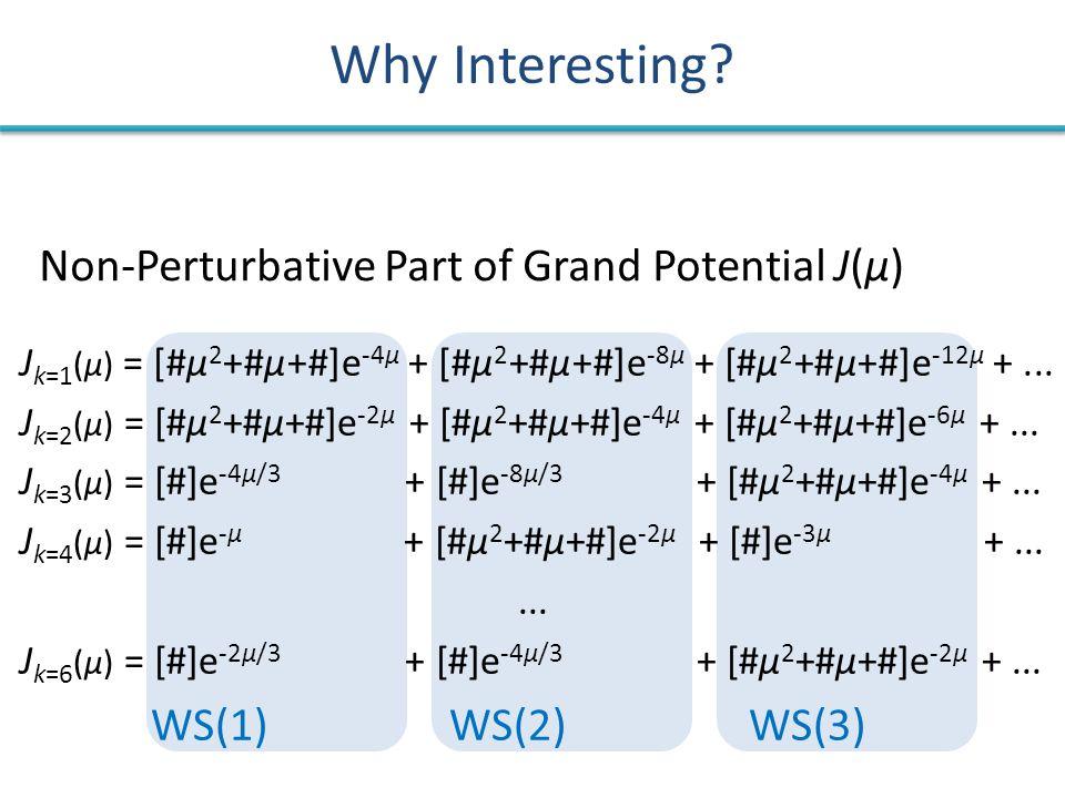 Why Interesting. J k=1 (μ) = [#μ 2 +#μ+#]e -4μ + [#μ 2 +#μ+#]e -8μ + [#μ 2 +#μ+#]e -12μ +...