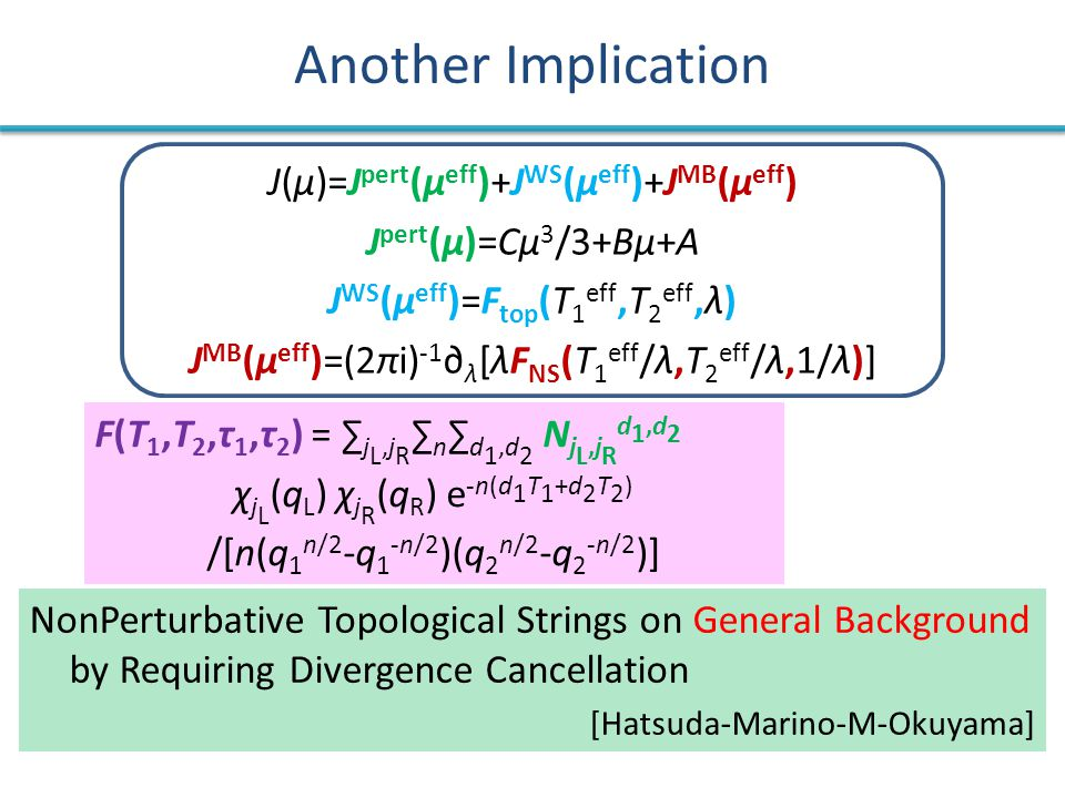 Another Implication NonPerturbative Topological Strings on General Background by Requiring Divergence Cancellation [Hatsuda-Marino-M-Okuyama] F(T 1,T