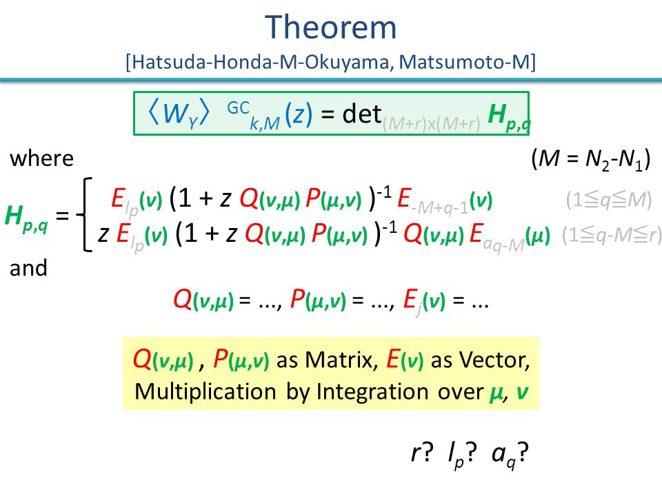 Q (ν,μ), P (μ,ν) as Matrix, E (ν) as Vector, Multiplication by Integration over μ, ν Theorem [Hatsuda-Honda-M-Okuyama, Matsumoto-M] H p,q = 〈 W Y 〉 GC