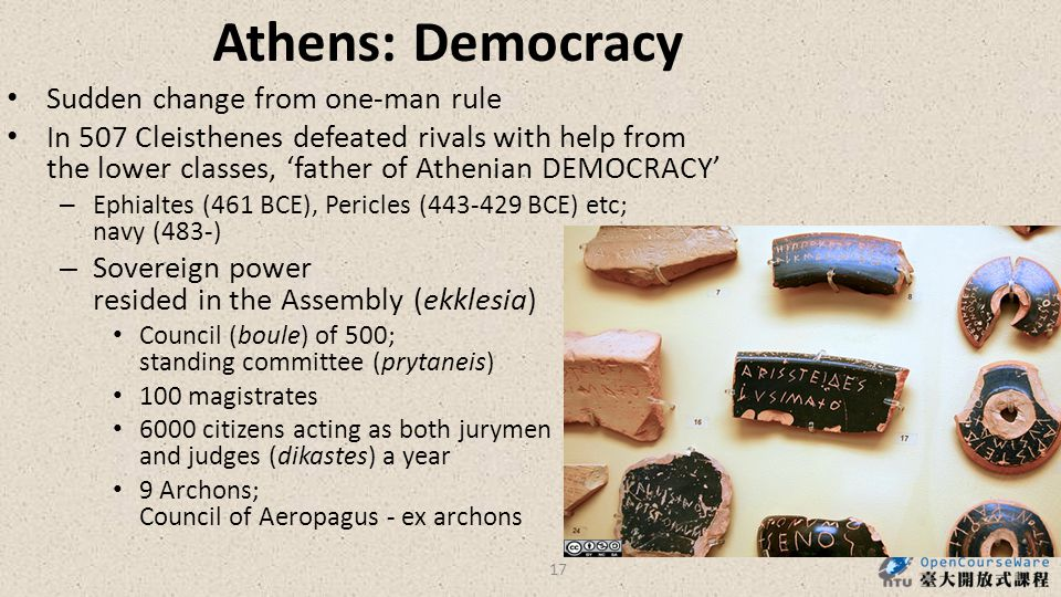 Athens: Democracy Sudden change from one-man rule In 507 Cleisthenes defeated rivals with help from the lower classes, 'father of Athenian DEMOCRACY' – Ephialtes (461 BCE), Pericles (443-429 BCE) etc; navy (483-) – Sovereign power resided in the Assembly (ekklesia) Council (boule) of 500; standing committee (prytaneis) 100 magistrates 6000 citizens acting as both jurymen and judges (dikastes) a year 9 Archons; Council of Aeropagus - ex archons 17