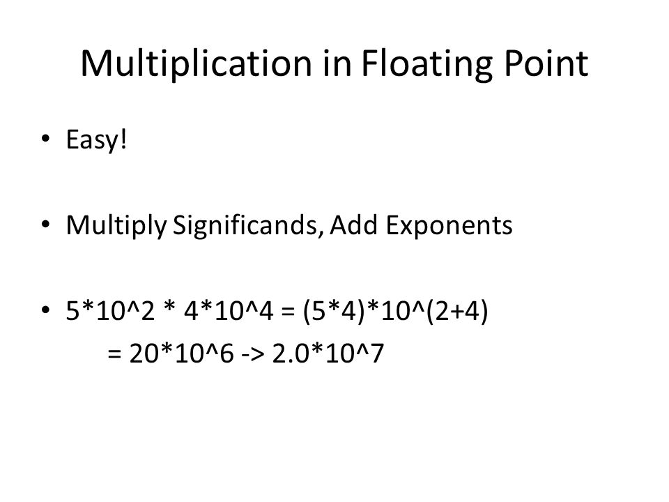 Multiplication in Floating Point Easy.