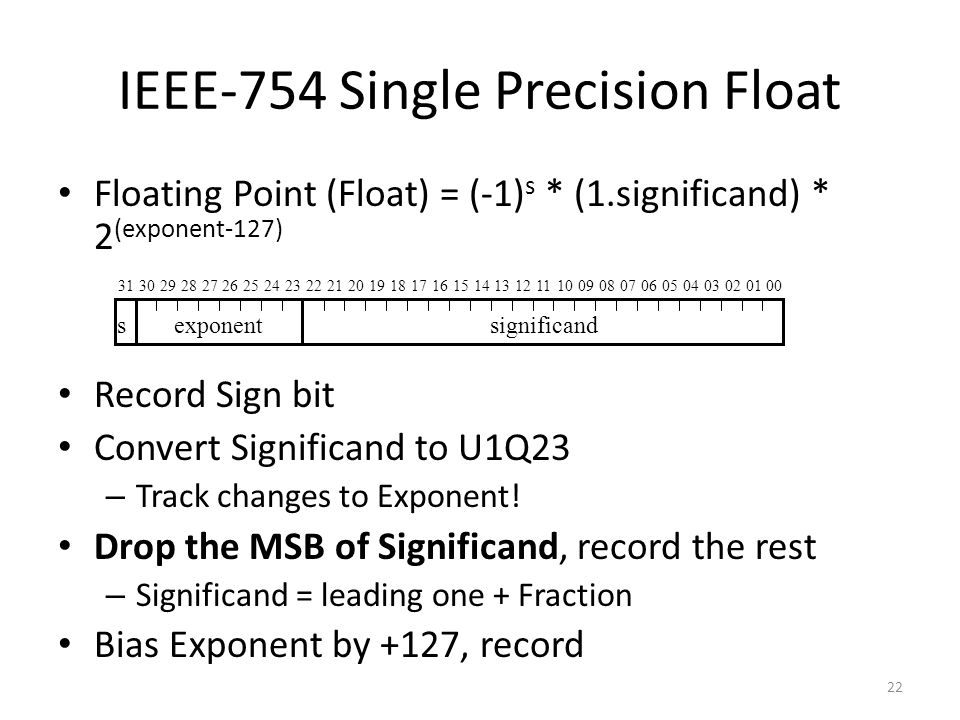 22 IEEE-754 Single Precision Float Floating Point (Float) = (-1) s * (1.significand) * 2 (exponent-127) Record Sign bit Convert Significand to U1Q23 – Track changes to Exponent.
