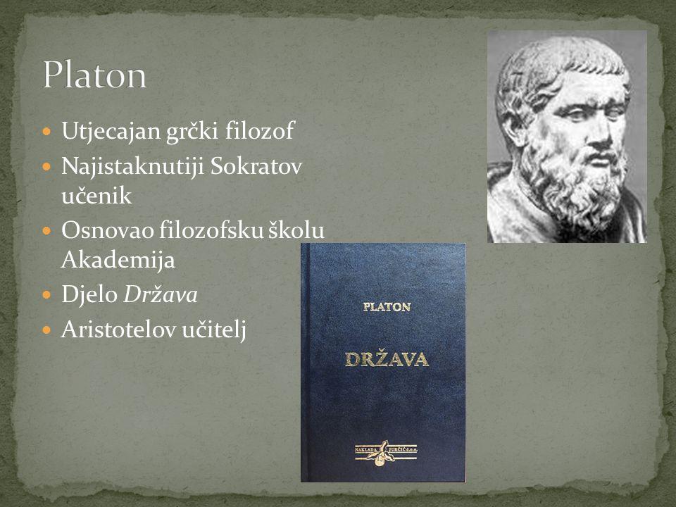 Utjecajan grčki filozof Najistaknutiji Sokratov učenik Osnovao filozofsku školu Akademija Djelo Država Aristotelov učitelj