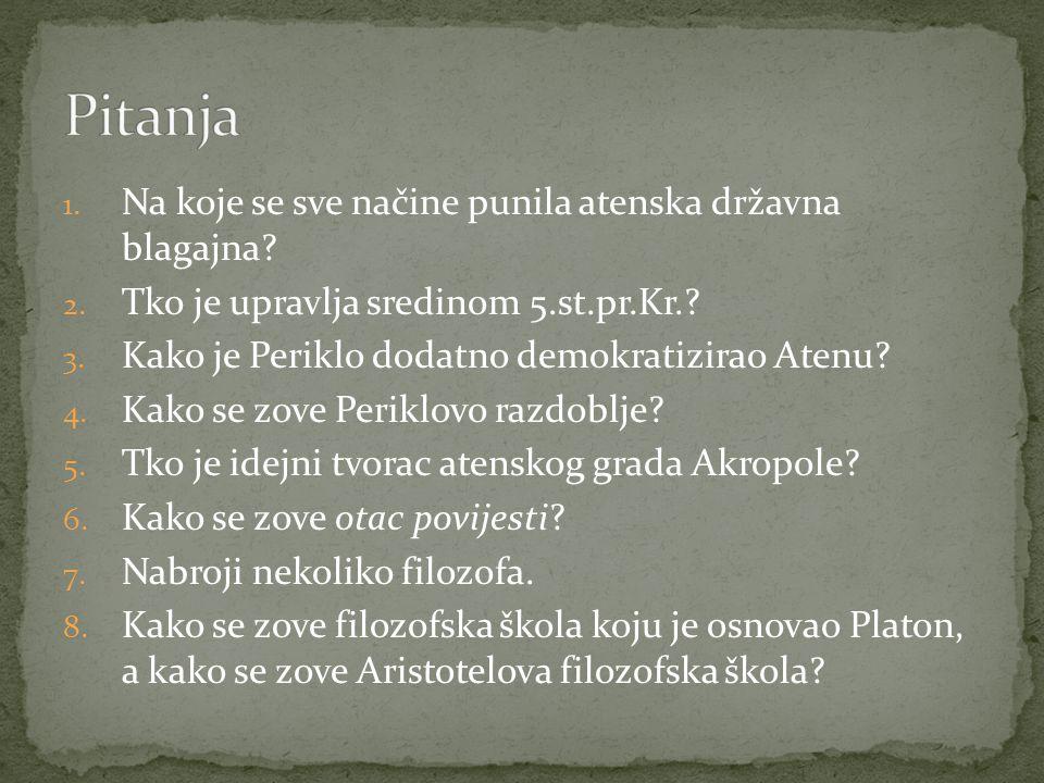 1.Na koje se sve načine punila atenska državna blagajna.