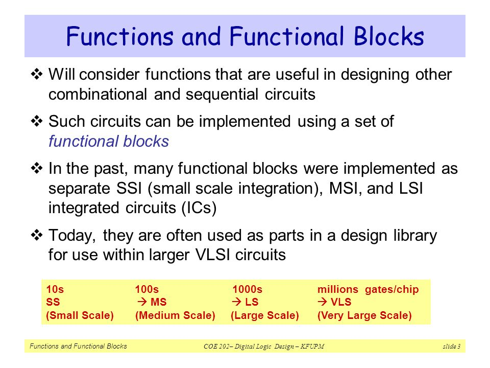 Functions and Functional Blocks COE 202– Digital Logic Design – KFUPM slide 44 Design a 4-to-16 Decoder Using 2-to-4 Decoders with Enable  Problem: Design a 4x16 Decoder using 2x4 Decoders  Solution: Each group combination holds a unique value for A 3 A 2  One Decoder can be therefore used with inputs: A 3 A 2  Four more decoders are needed for representing each individual color combination A3A3 A2A2 A1A1 A0A0 Active Output 0000D0D0 0001D1D1 0010D2D2 0011D3D3 0100D4D4 0101D5D5 0110D6D6 0111D7D7 1000D8D8 1001D9D9 1010D 10 1011D 11 1100D 12 1101D 13 1110D 14 1111D 15 A 3 A 2 = 00 A 3 A 2 = 01 A 3 A 2 = 10 A 3 A 2 = 11 Common to all 4 3-to-4 decoders Select 1 of the 4 2-to-4 decoders