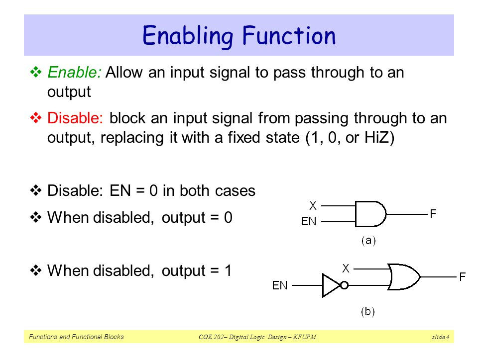 Functions and Functional Blocks COE 202– Digital Logic Design – KFUPM slide 4 Enabling Function  Enable: Allow an input signal to pass through to an