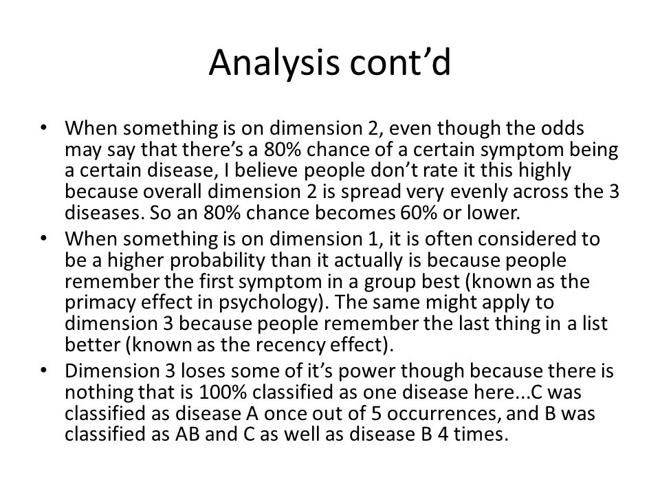 Analysis cont'd When something is on dimension 2, even though the odds may say that there's a 80% chance of a certain symptom being a certain disease, I believe people don't rate it this highly because overall dimension 2 is spread very evenly across the 3 diseases.