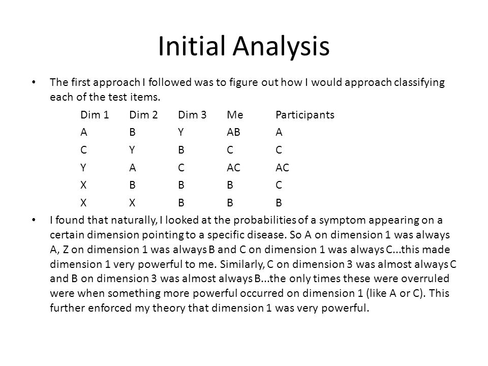 Initial Analysis The first approach I followed was to figure out how I would approach classifying each of the test items.