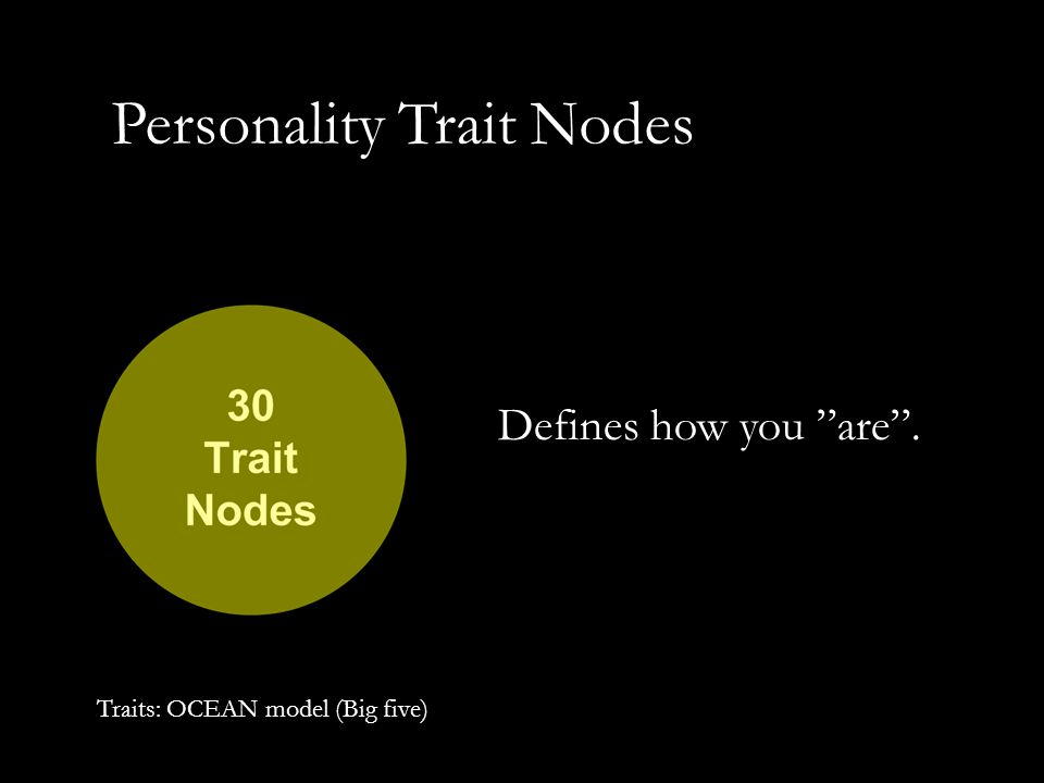 "Personality Trait Nodes Defines how you ""are"". Traits: OCEAN model (Big five)"