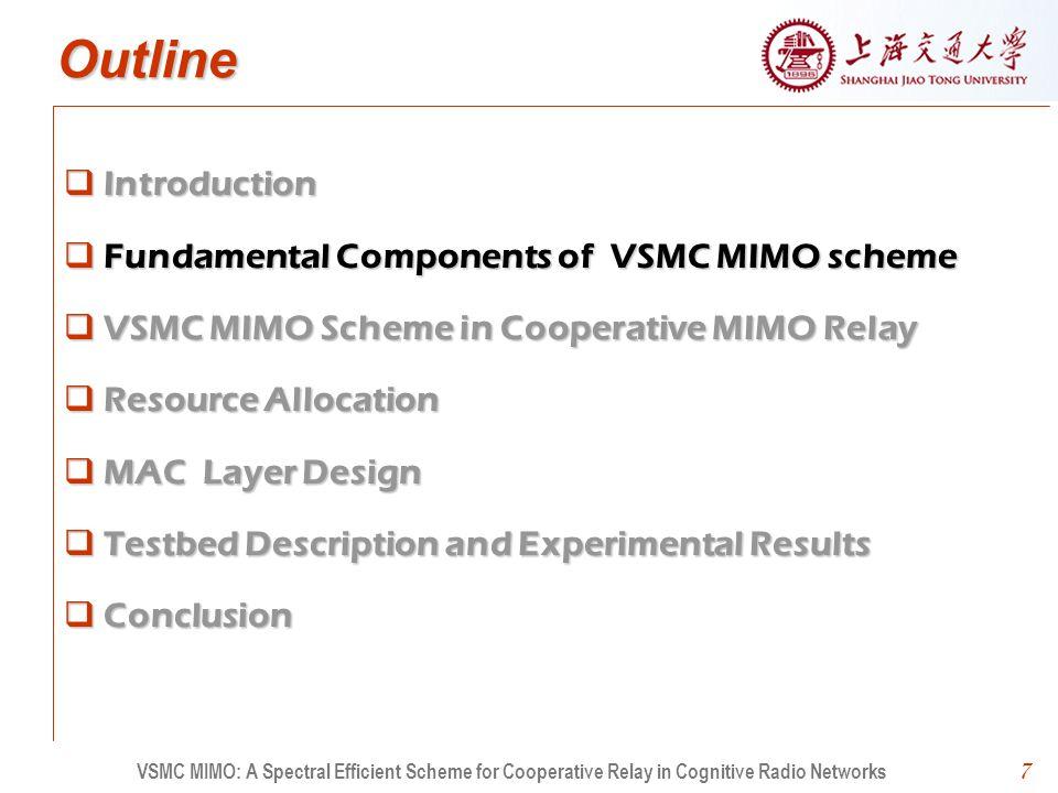 7 Outline Introduction Fundamental Components of VSMC MIMO scheme VSMC MIMO Scheme in Cooperative MIMO Relay Resource Allocation MAC Layer Design