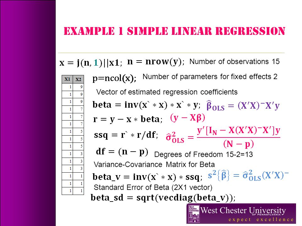 Example 1 simple linear regression Number of observations 15 Number of parameters for fixed effects 2 Vector of estimated regression coefficients Degr