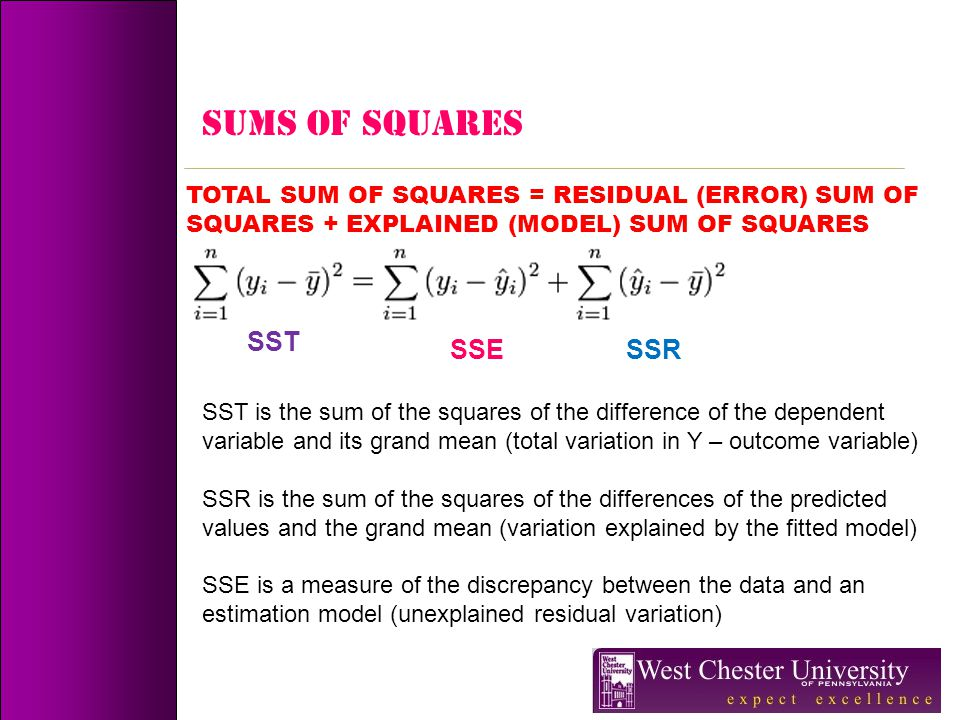 SUMS OF SQUARES TOTAL SUM OF SQUARES = RESIDUAL (ERROR) SUM OF SQUARES + EXPLAINED (MODEL) SUM OF SQUARES SST SST is the sum of the squares of the dif