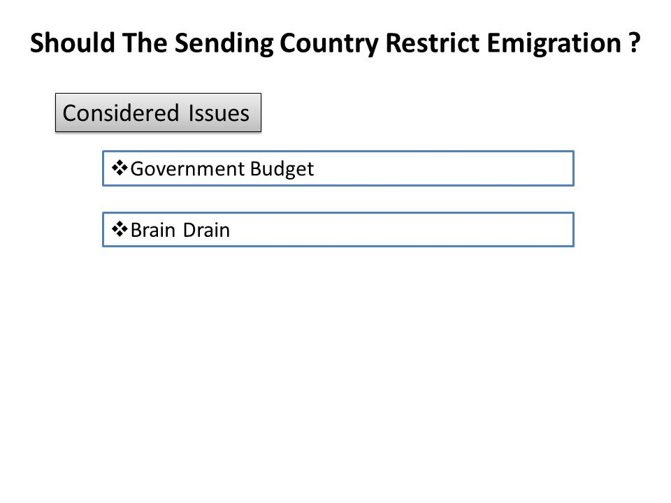 Should The Sending Country Restrict Emigration ?  Government Budget Considered Issues  Brain Drain