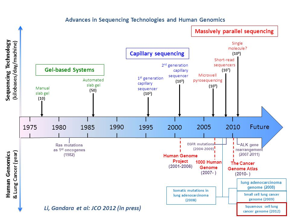 Advances in Sequencing Technologies and Human Genomics Automated slab gel Manual slab gel 1 st generation capillary sequencer Gel-based Systems Capill