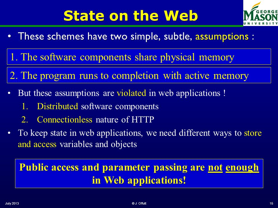 State on the Web These schemes have two simple, subtle, assumptions :These schemes have two simple, subtle, assumptions : July 2013© J Offutt15 1.